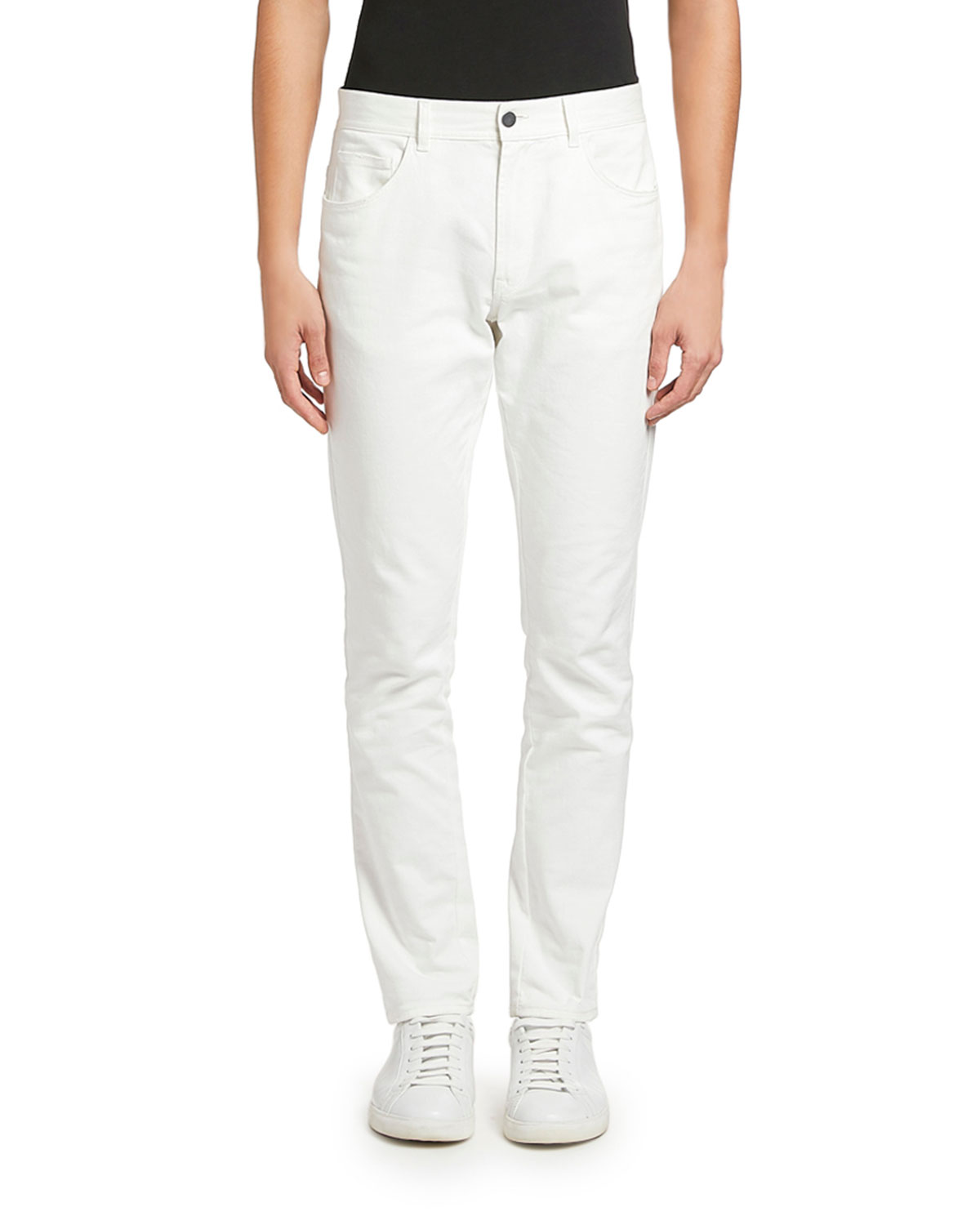 Moncler Men's White-Wash Basic Jeans