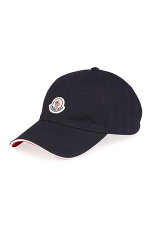Moncler Men's Logo Baseball Cap w/ Flag Detail