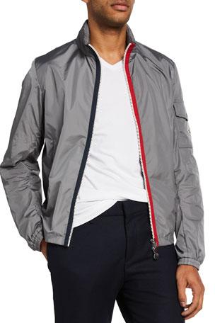 Moncler Men's Keralle Nylon Jacket w/ Signature Stripes