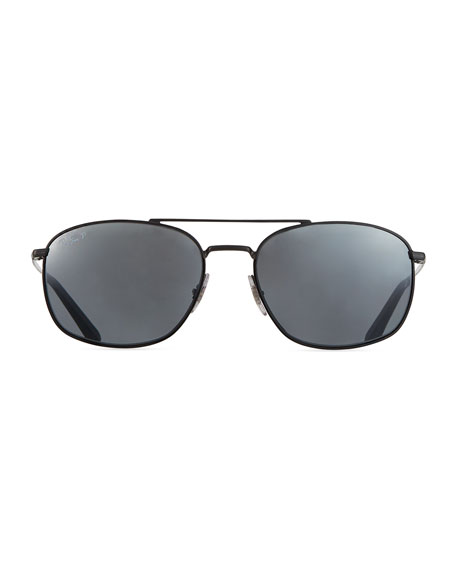 Image 2 of 3: Ray-Ban Men's Square Double-Bridge Polarized Sunglasses