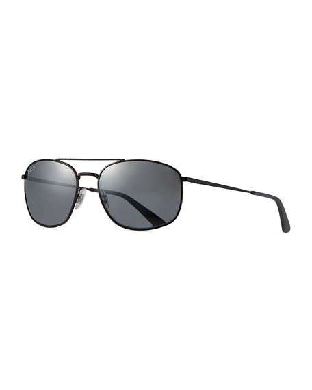 Image 1 of 3: Ray-Ban Men's Square Double-Bridge Polarized Sunglasses