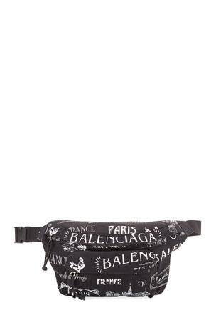 Balenciaga Men's Allover Logo Belt Bag