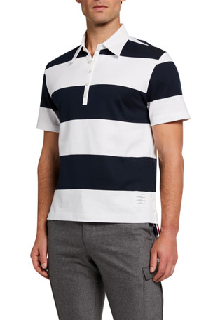 Thom Browne Men's Rugby Stripe Polo Shirt