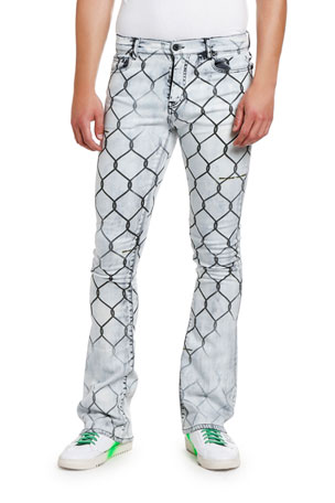 Off-White Men's Fancy Skinny Stacked Fence Jeans