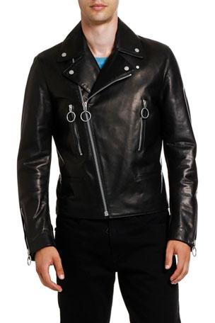 Off-White Men's Arrow Leather Biker Jacket