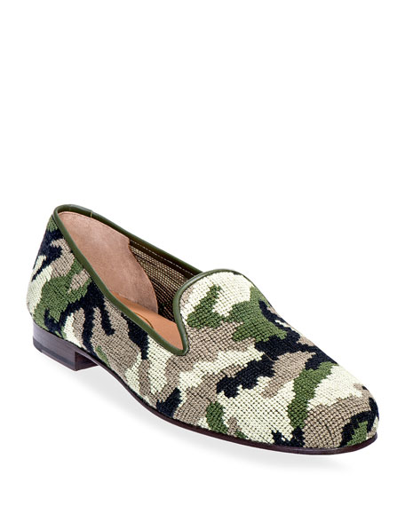 Stubbs and Wootton Men's Camo Needlepoint Slippers