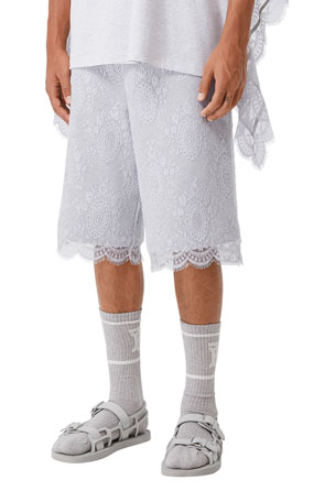 Burberry Men's Sweat Shorts w/ Lace Overlay