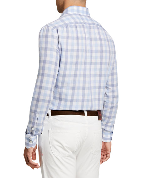 Image 2 of 2: Isaia Men's Large Gingham Check Sport Shirt