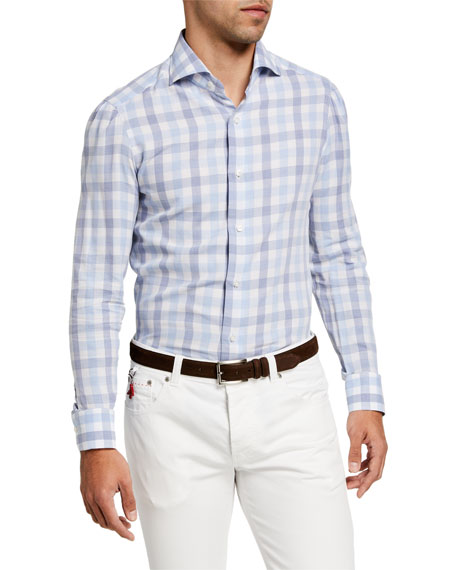 Image 1 of 2: Isaia Men's Large Gingham Check Sport Shirt