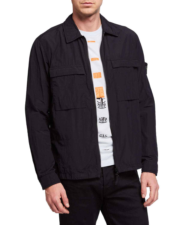 Stone Island Men's Zip-Front Dual-Pocket Overshirt Jacket