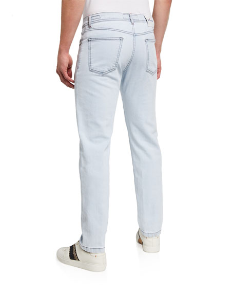Image 2 of 3: Kiton Men's Straight-Leg Bleached-Wash Jeans