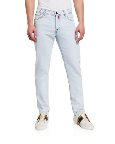Image 1 of 3: Kiton Men's Straight-Leg Bleached-Wash Jeans