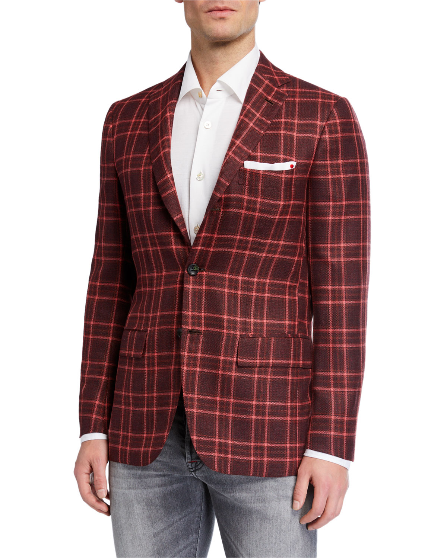 Kiton Men's Plaid Three-Button Cashmere Sport Jacket