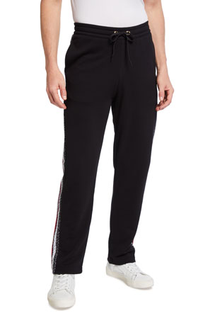 Burberry Men's Monogram Stripe-Panel Sweatpants