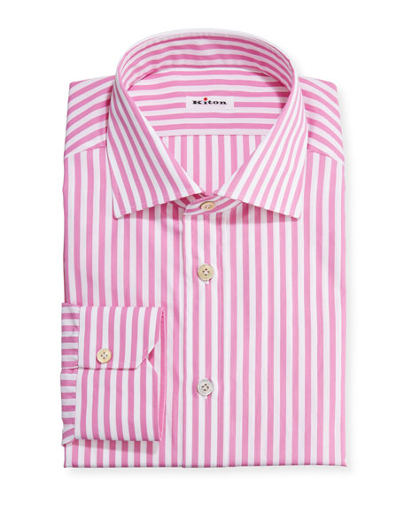 Image 1 of 2: Kiton Men's Bengal Stripe Linen Dress Shirt