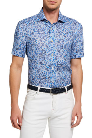 Kiton Men's Floral Chambray Short-Sleeve Sport Shirt