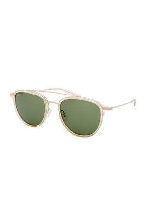 Barton Perreira Men's Courtier Titanium Aviator Sunglasses