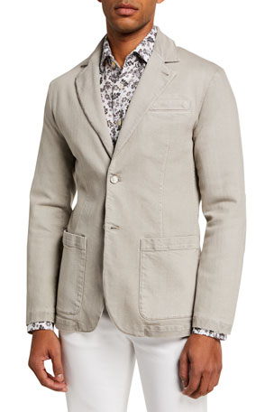 Kiton Men's Two-Button Denim Jacket