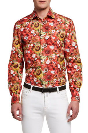Kiton Men's Floral Cotton Sport Shirt