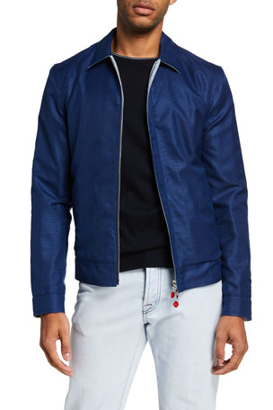 Kiton Men's Textured Wool-Blend Bomber Jacket