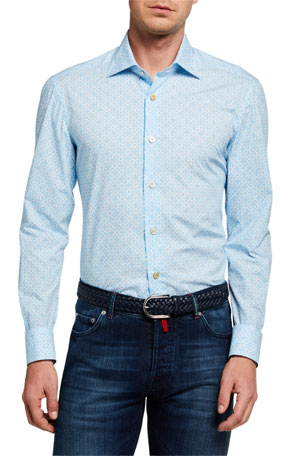 Kiton Men's Geometric-Print Sport Shirt