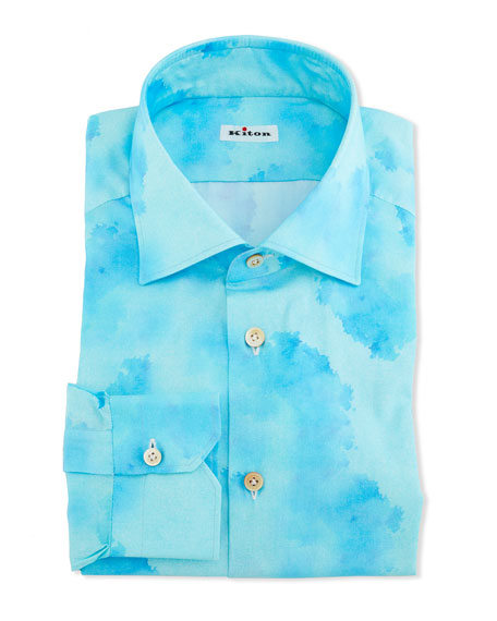 Kiton Men's Linen Blotch-Print Dress Shirt