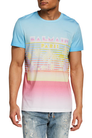 Balmain Men's Gradient Palm Tree Crewneck T-Shirt