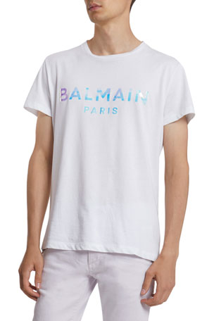 Balmain Men's Hologram Logo Graphic T-Shirt