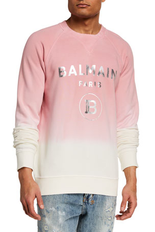 Balmain Men's Gradient Sweatshirt w/ Metallic Logo
