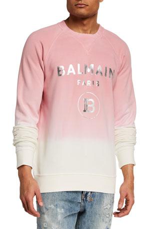 Balmain Men's Gradient Sweatshirt w/ Metallic Logo