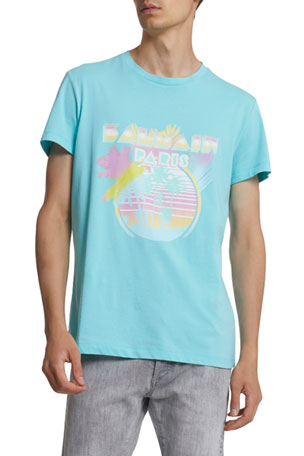 Balmain Men's Palm Tree Logo Graphic T-Shirt