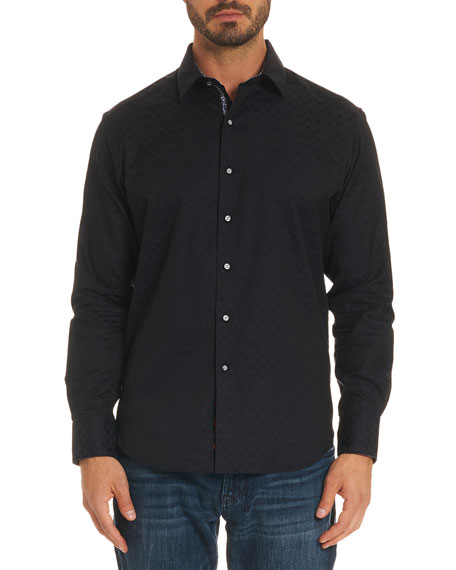 Robert Graham Diamante Basic Tonal Jacquard Sport Shirt