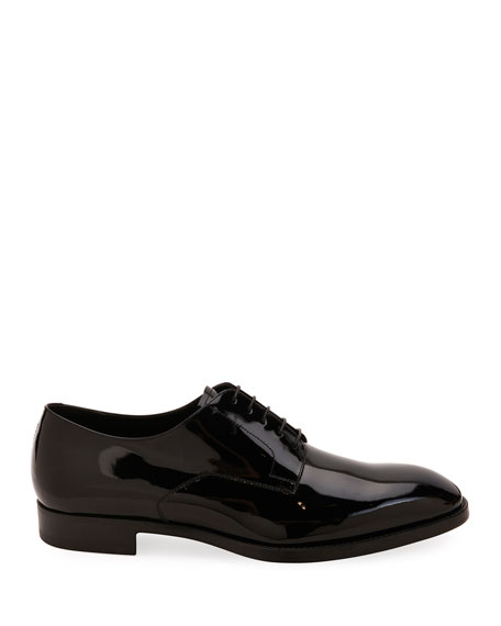 Image 2 of 3: Giorgio Armani Men's Patent Leather Derby Shoes