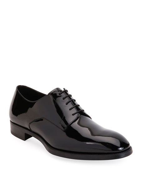 Image 1 of 3: Giorgio Armani Men's Patent Leather Derby Shoes