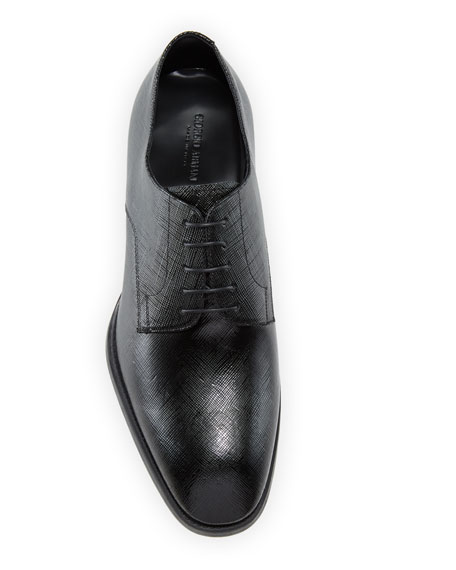 Image 2 of 4: Giorgio Armani Men's Textured Patent Leather Formal Derby Shoes