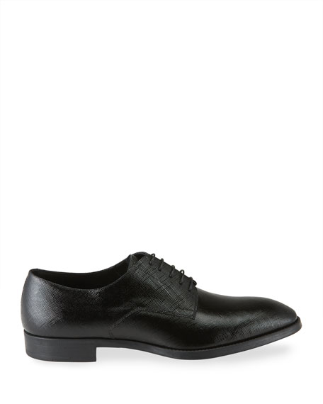 Image 3 of 4: Giorgio Armani Men's Textured Patent Leather Formal Derby Shoes
