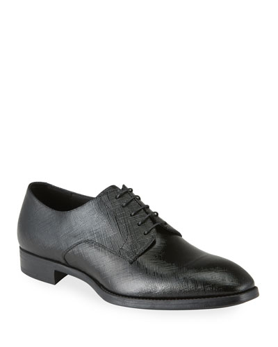 Men's Textured Patent Leather Formal Derby Shoes