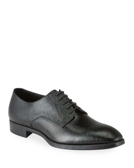 Image 1 of 4: Giorgio Armani Men's Textured Patent Leather Formal Derby Shoes
