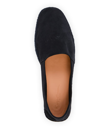 Image 2 of 4: Giorgio Armani Men's Suede Perforated-Logo Espadrilles