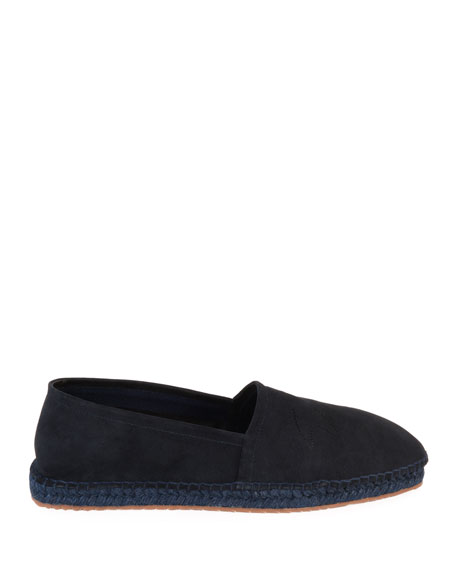 Image 3 of 4: Giorgio Armani Men's Suede Perforated-Logo Espadrilles