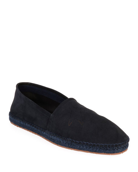 Image 1 of 4: Giorgio Armani Men's Suede Perforated-Logo Espadrilles