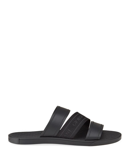 Image 3 of 4: Giorgio Armani Men's Tonal Logo-Strap Leather Slide Sandals