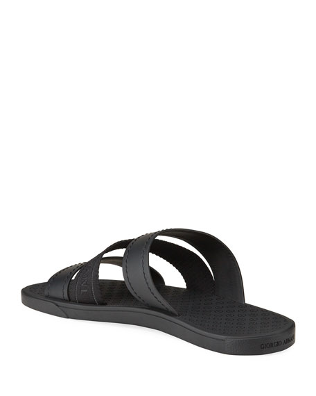 Image 4 of 4: Giorgio Armani Men's Tonal Logo-Strap Leather Slide Sandals
