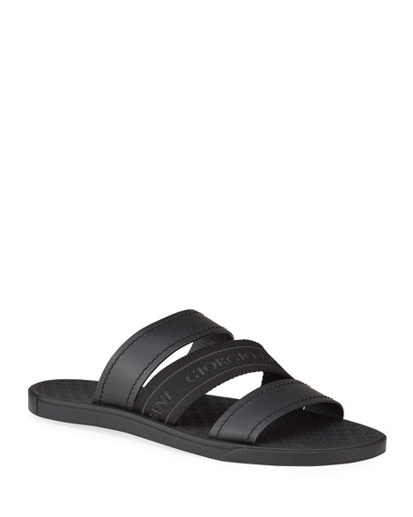 Image 1 of 4: Giorgio Armani Men's Tonal Logo-Strap Leather Slide Sandals