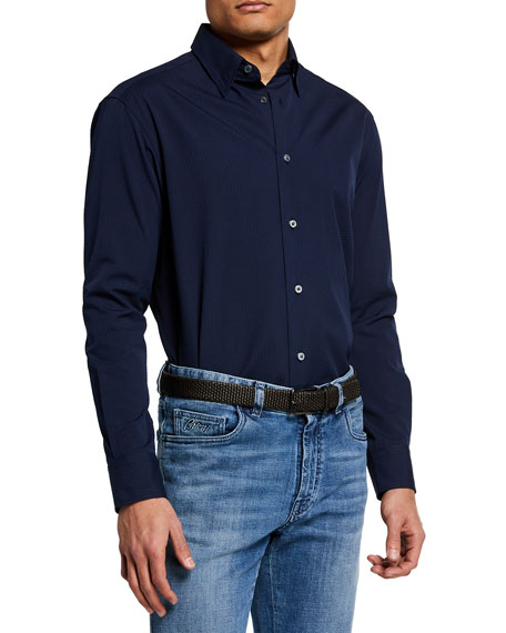 Image 1 of 2: Brioni Men's Solid Seersucker Sport Shirt