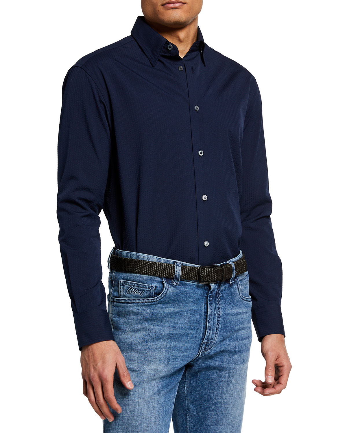 Brioni Men's Solid Seersucker Sport Shirt
