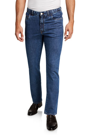 Brioni Men's Medium-Wash Straight-Leg Jeans