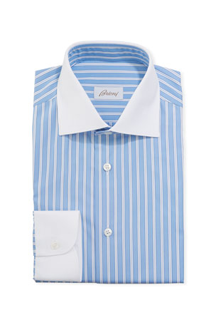 Brioni Men's Contrast-Trim Striped Dress Shirt