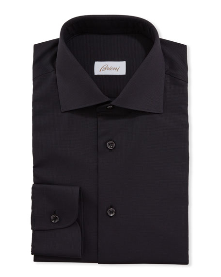 Image 1 of 2: Brioni Men's Textured Solid Dress Shirt