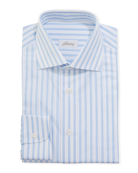 Image 1 of 2: Brioni Men's Multi-Stripe Dress Shirt